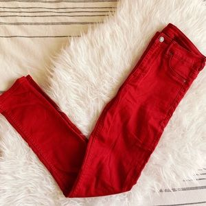 Red High Waisted Skinny Jeans